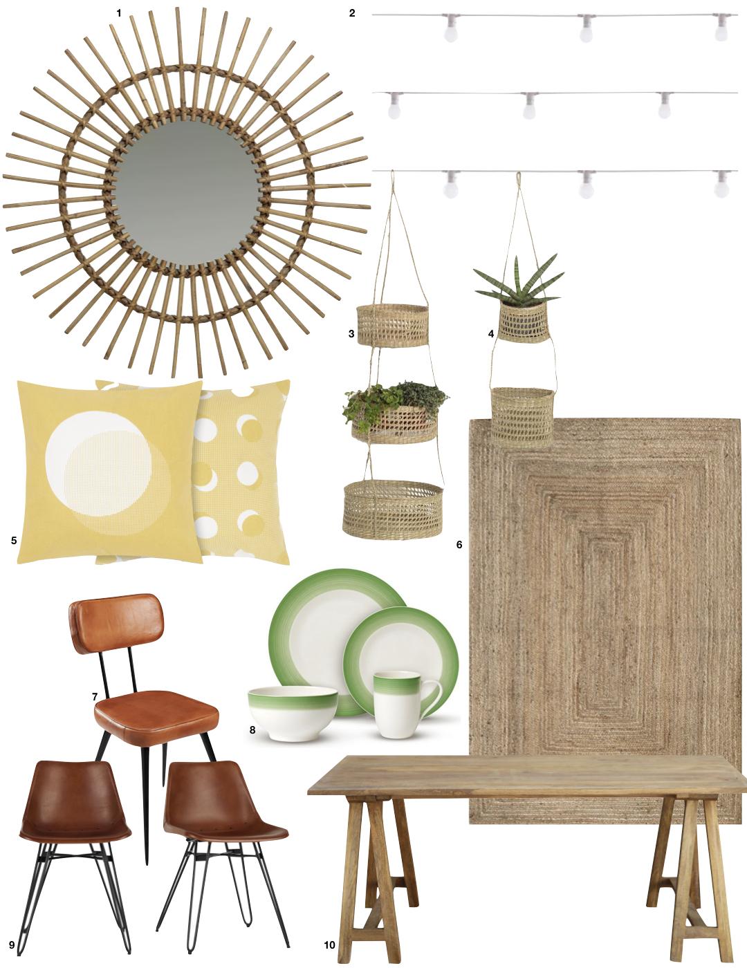 déco champêtre vintage coussin jaune miroir tapis fibre naturelle table bois chaise cuir marron