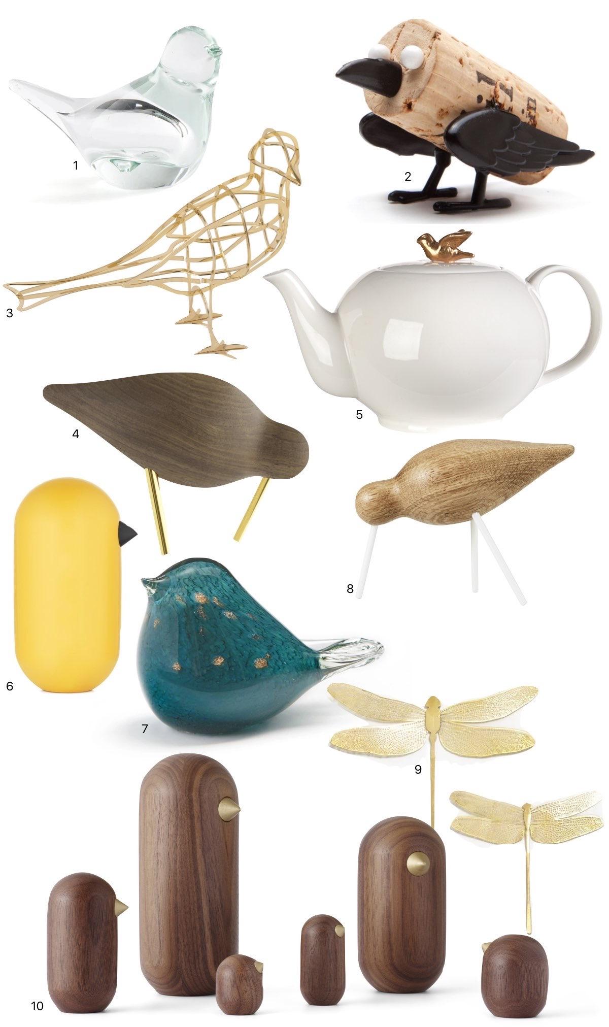 déco oiseau objet collection design bois laiton libellule scandinave