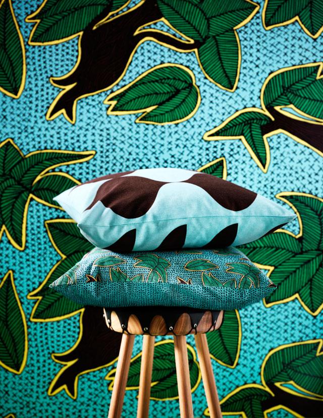 déco wax tissu papier peint vert turquoise bleu jaune - blog décoration intérieure - clem around the corner