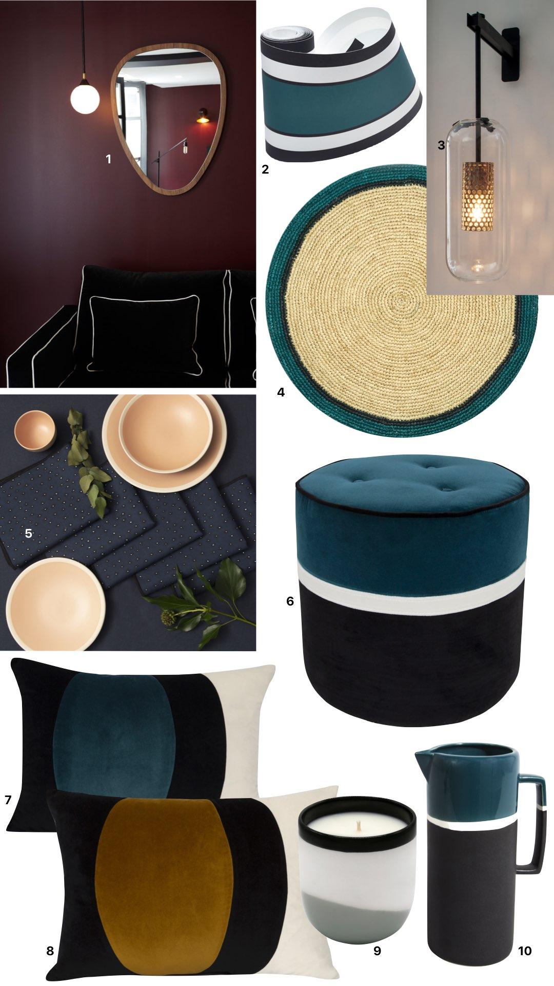 maison boutique Sarah Lavoine pouf bleu velours coussin bougie - blog déco - clem around the corner