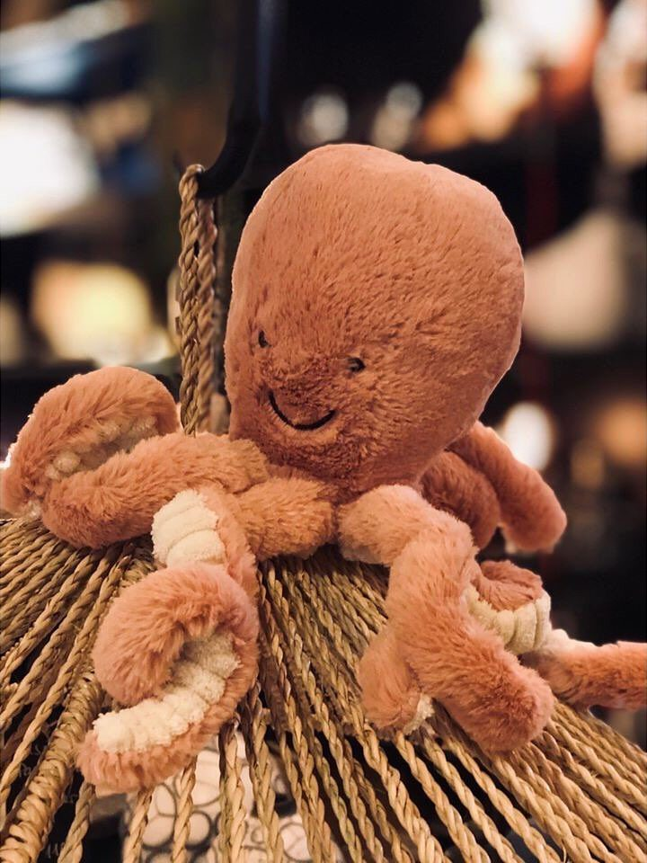 peluche pieuvre rose chambre enfant bébé mini jelly cat