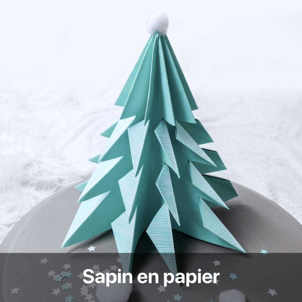 sapin en papier origami bricolage de Noël activité manuelle enfant