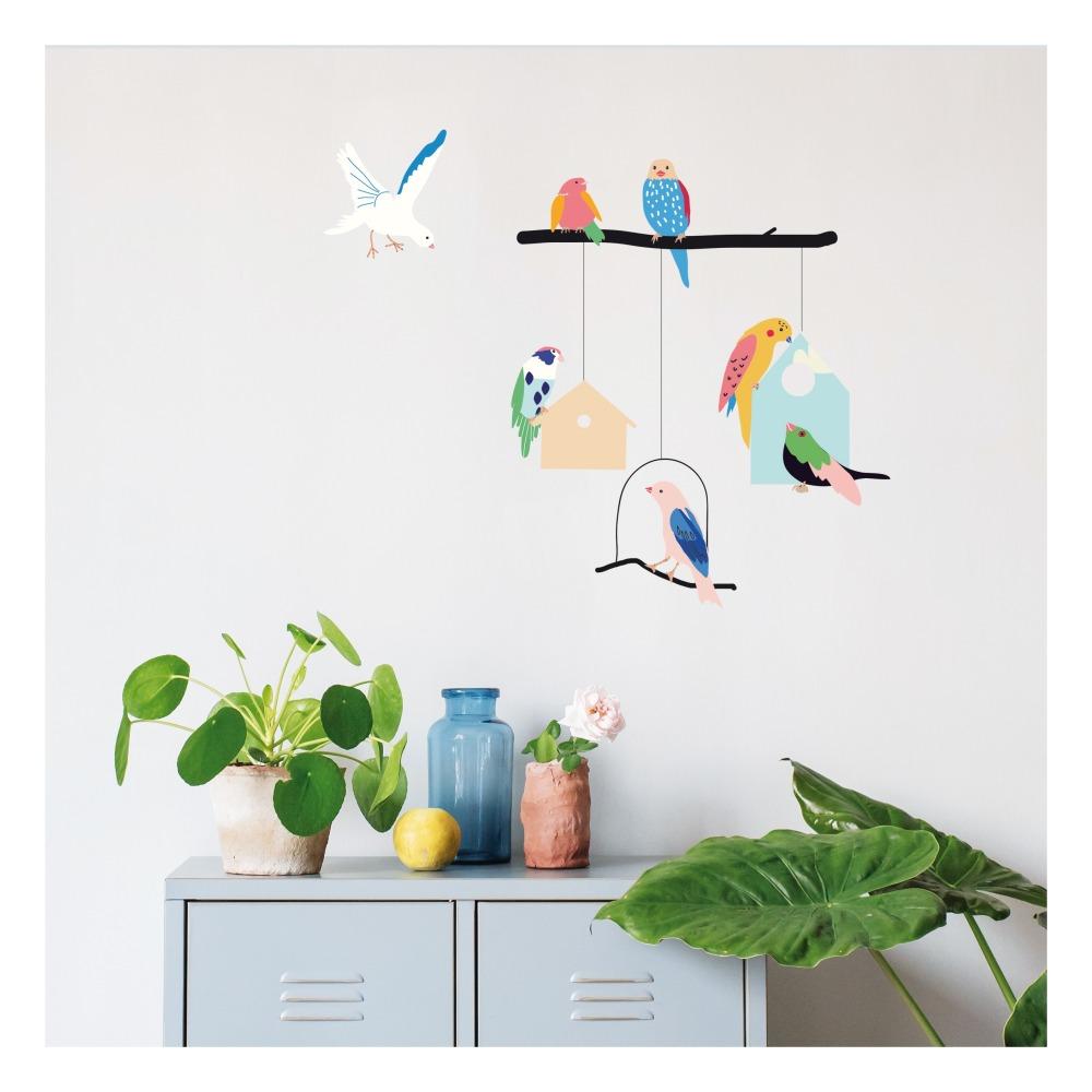 stickers oiseaux décoration original mur chambre enfant - blog déco - clem around the corner