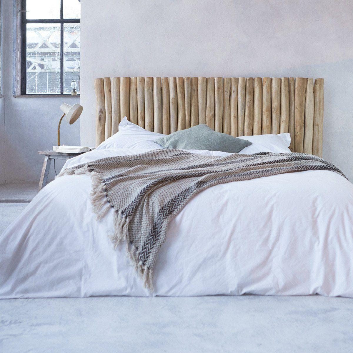 tête de lit en bois flotté pas cher tronc branche décoration industrielle bord de mer chambre