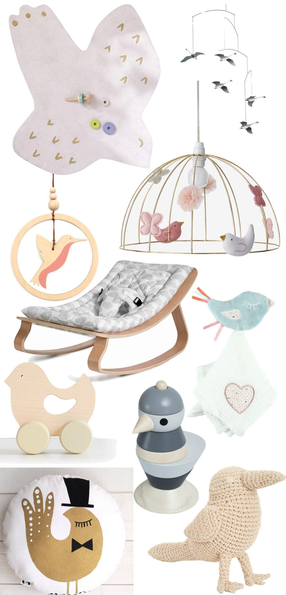 thème oiseau chambre bébé idée cadeau naissance fille mobile tapis jouet en bois
