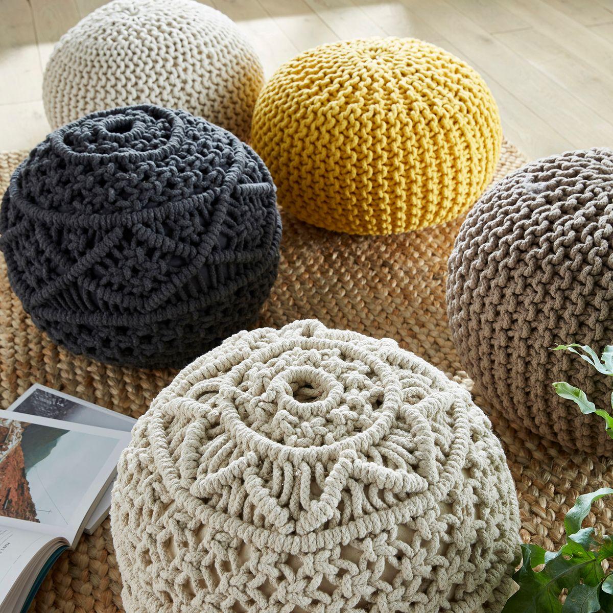 pouf tricot style macramé en corde à faire soi même style berbère