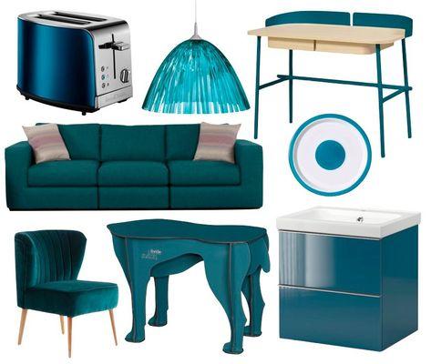 décoration salon couleur bleu canard paon maison intérieur meuble - blog déco clemaroundthecorner