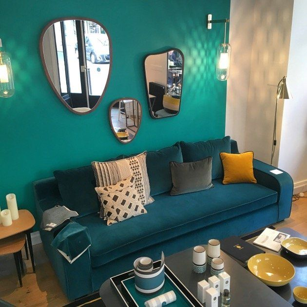 canapé velours bleu canard peinture ressource turquoise - blog déco - clem around the corner