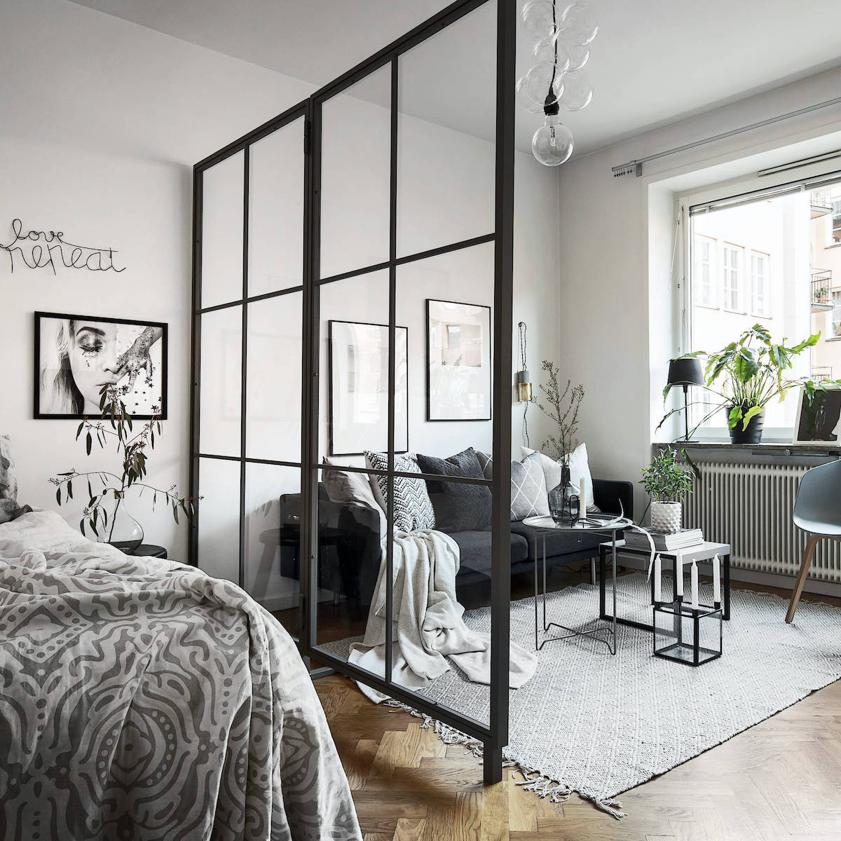 appartement fonctionnel esthétique cloison fixe en verre bord noir métallique