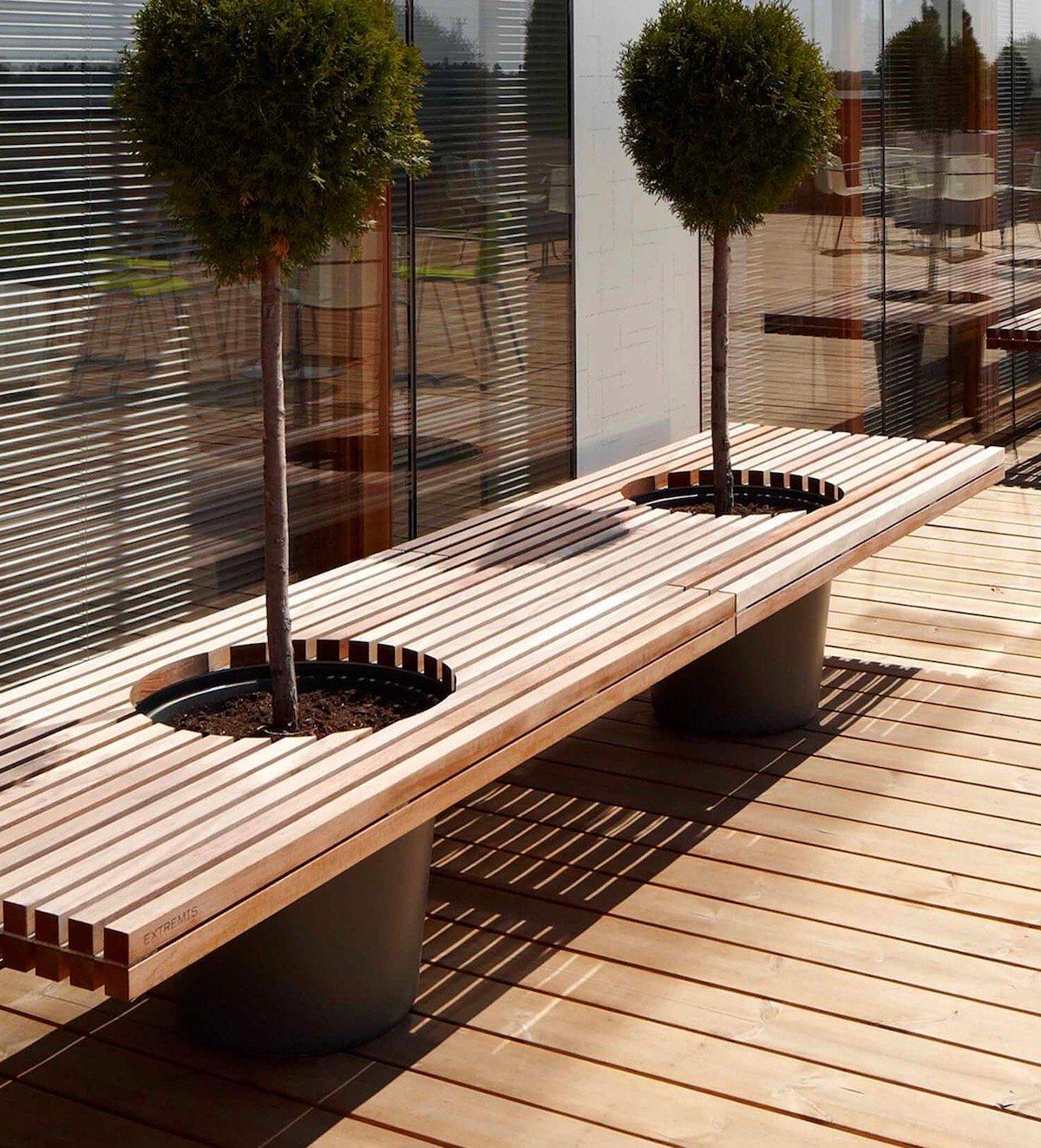 banc avec pot fleur intégré arbuste romeo juliette meuble végétal terrasse bois latte