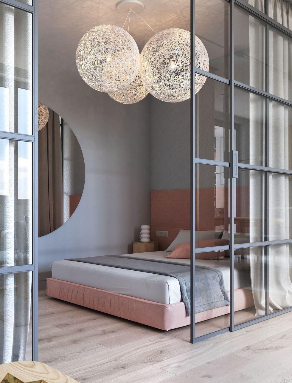 blog déco chambre chic rose poudré gris lustre rond déco chambre tendance