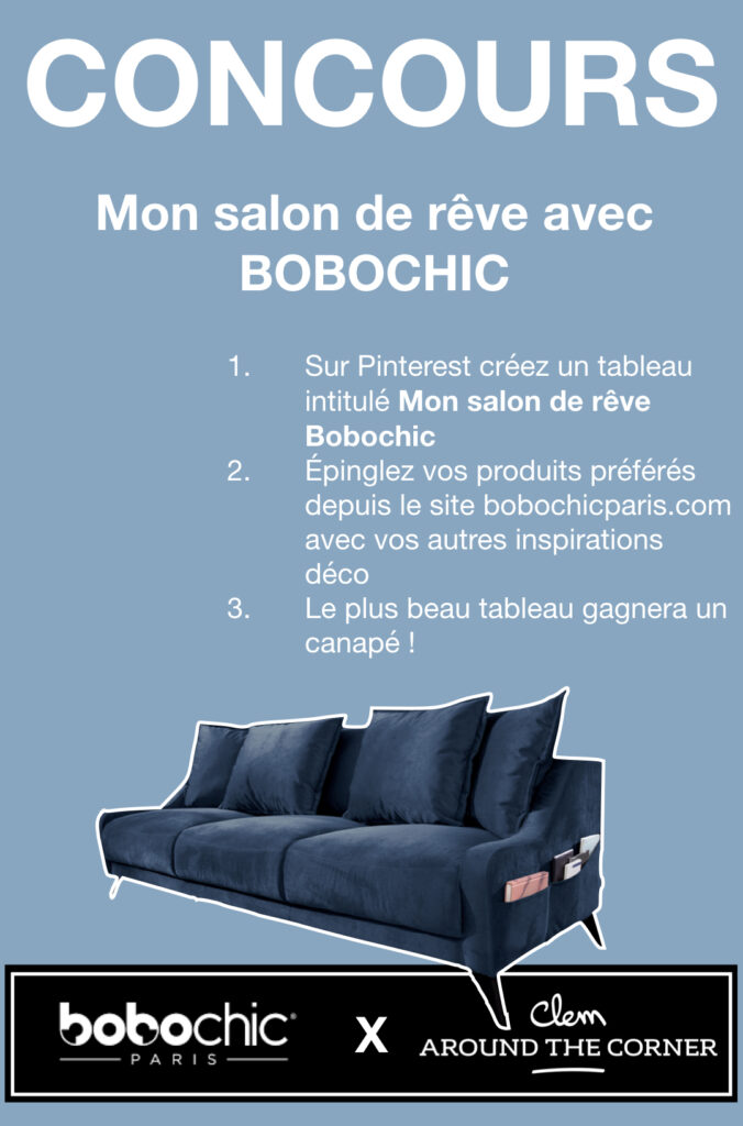 canapé velours bleu design - blog déco - clem around the corner