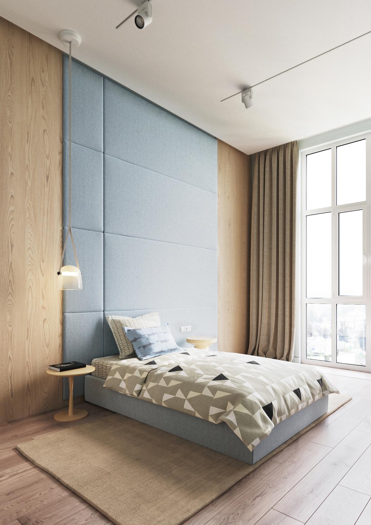chambre adulte parent tête de lit haute géante revêtement bois design