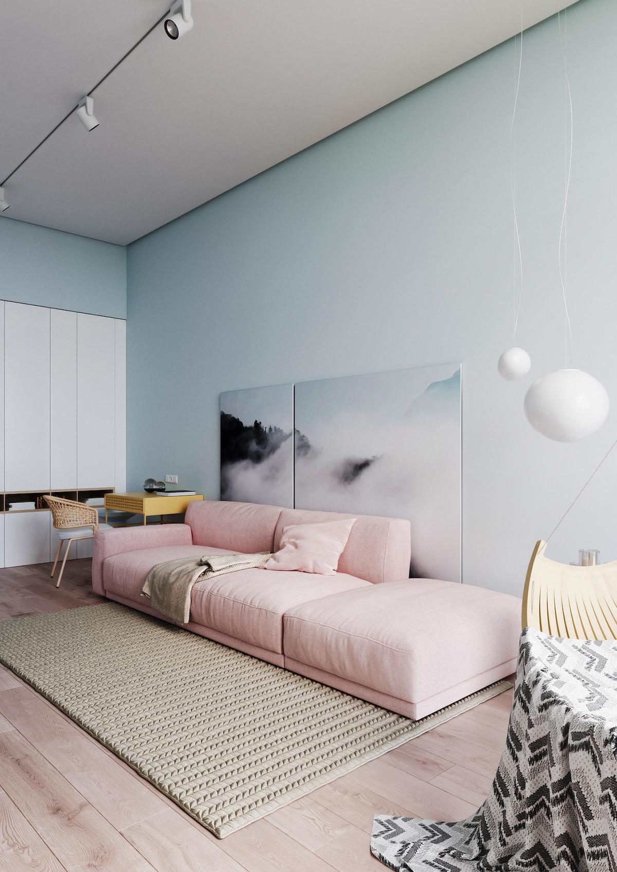 chambre ami idée agencement bureau intérieur couleurs pastel