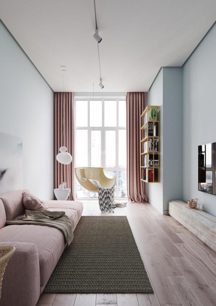 chambre salon aménagement studio canapé lit intérieur couleurs pastels fauteuil suspendu