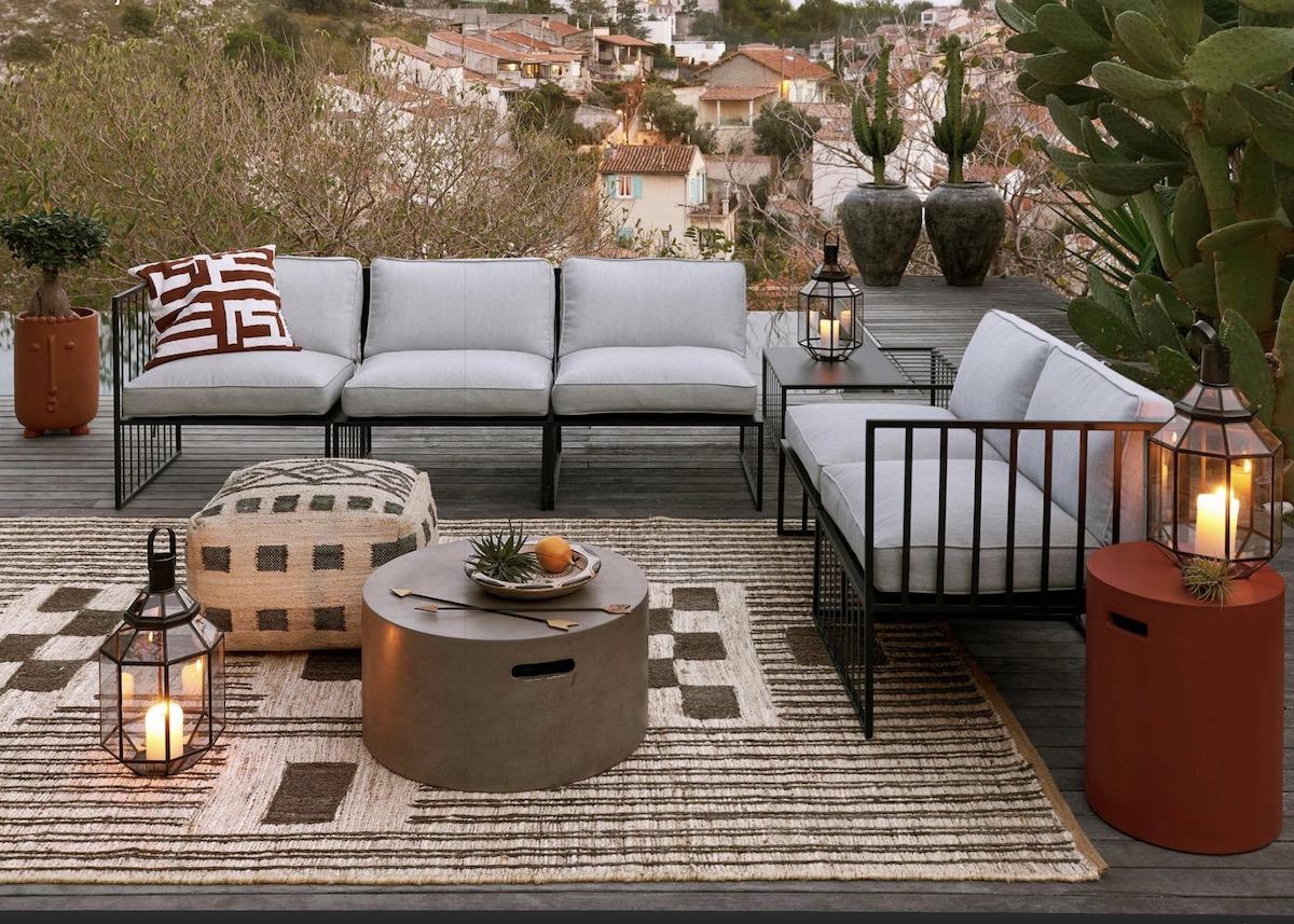 créer terrasse bohème meuble pouf décoration - blog déco - clem around the corner