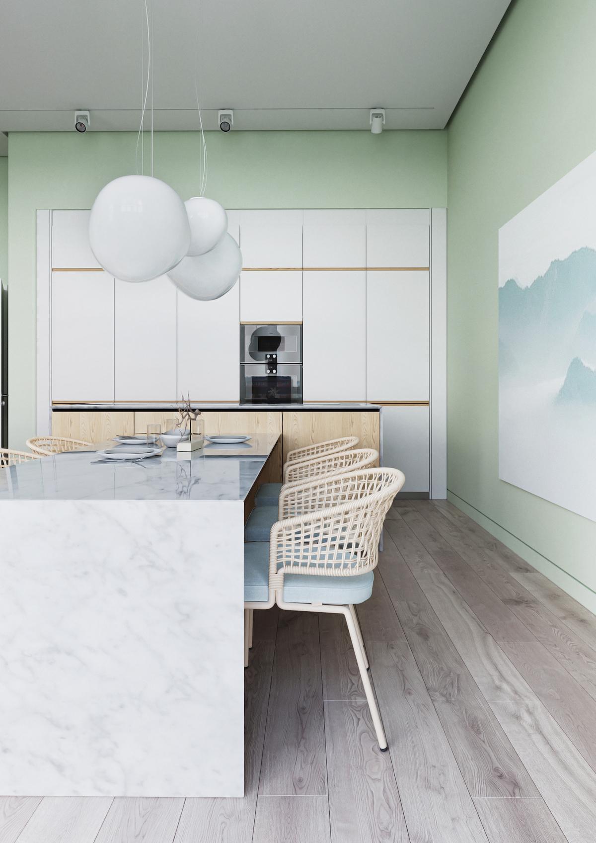 cuisine ouverte blanc bois vert clair marbre - blog design
