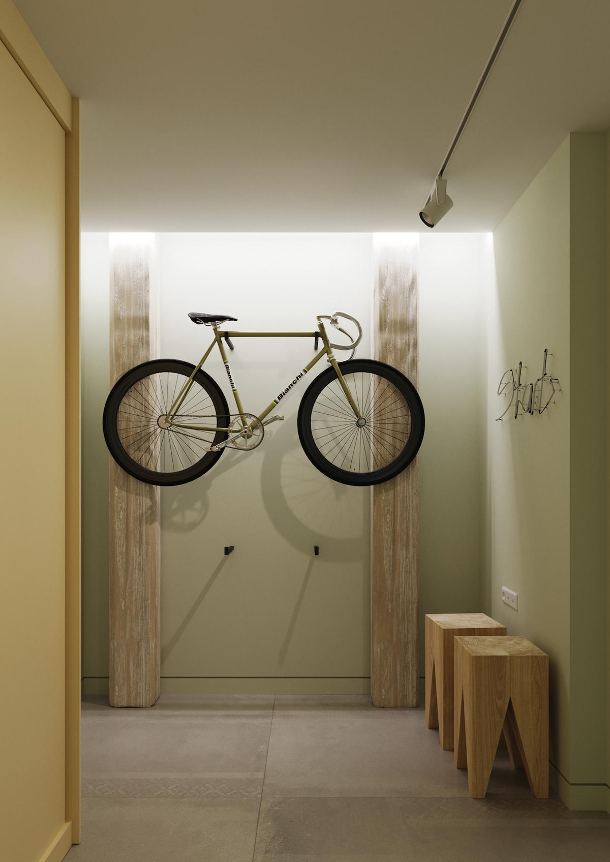 entrée mur vert eau pastel accroche vélo mural