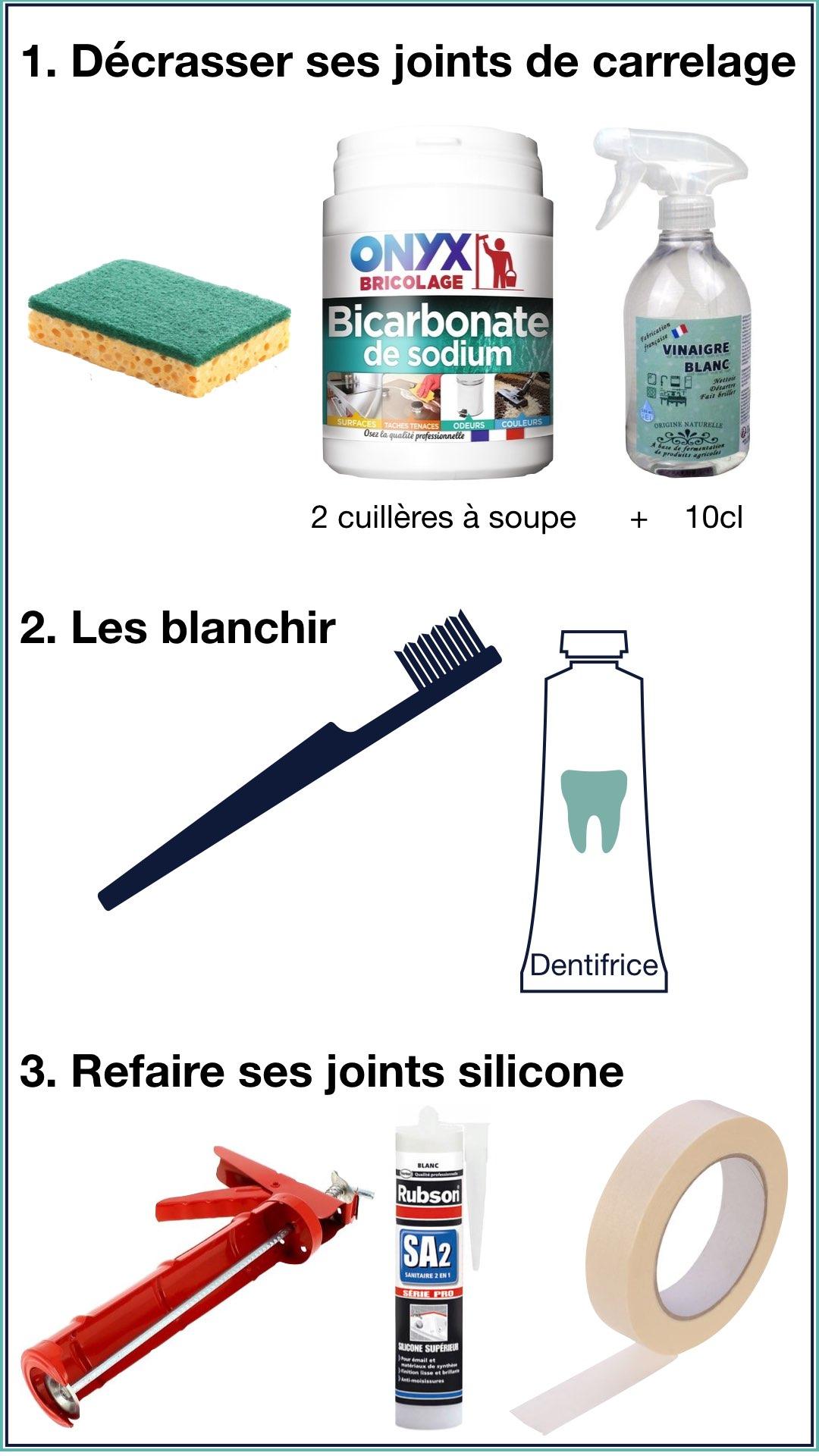 entretien naturel joints carrelage silicone mastic pose facile salle de bain astuce conseil