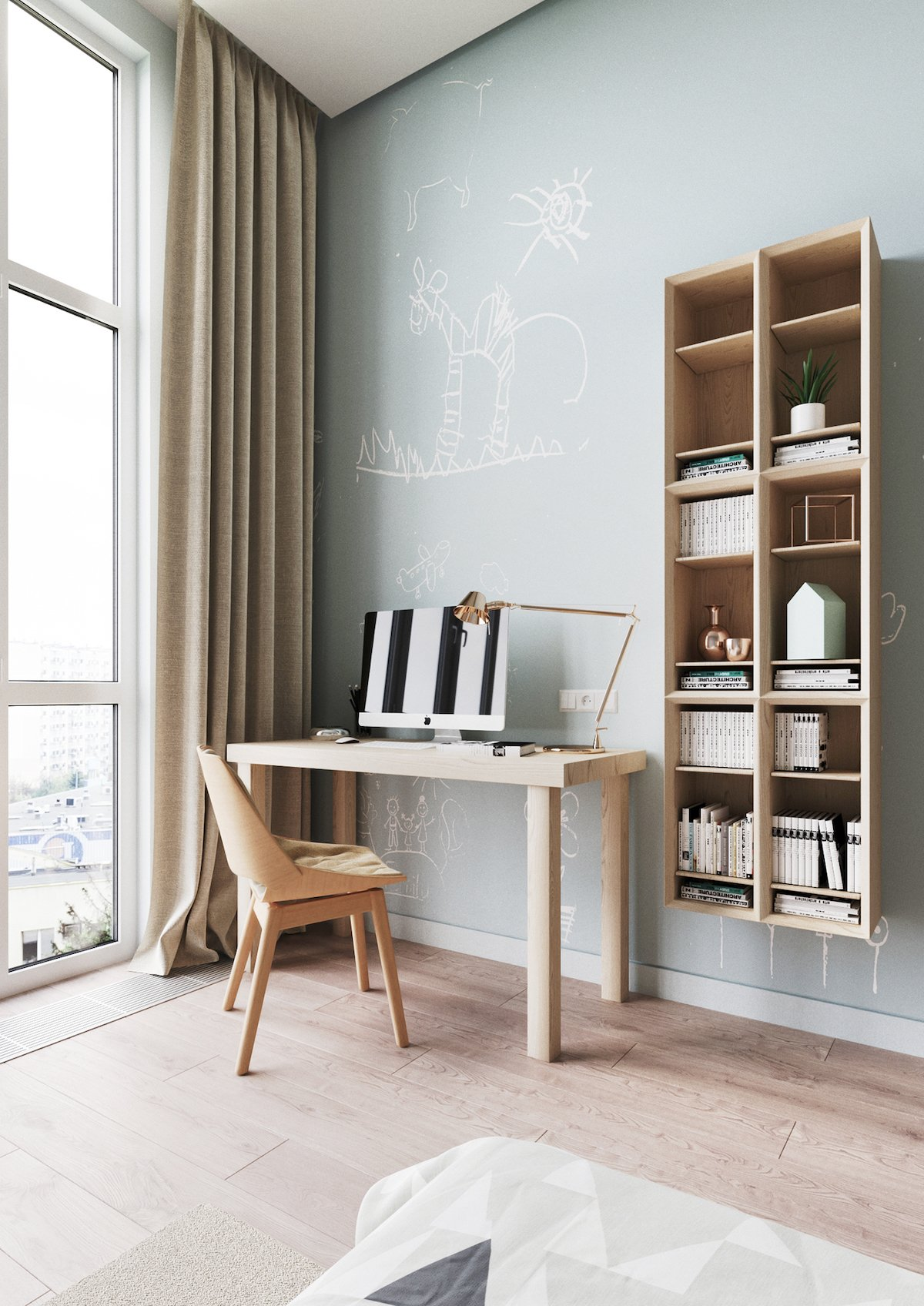 espace bureau bois chambre enfant mur tableau vert pâle