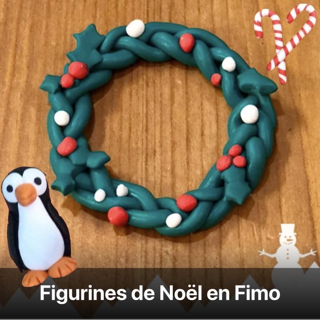 figurine Noël fimo couronne déco de sapin pâte à modeler sel pingouin