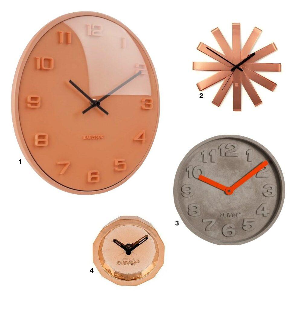 horloge murale design cuivre béton - blog déco - clem around the corner