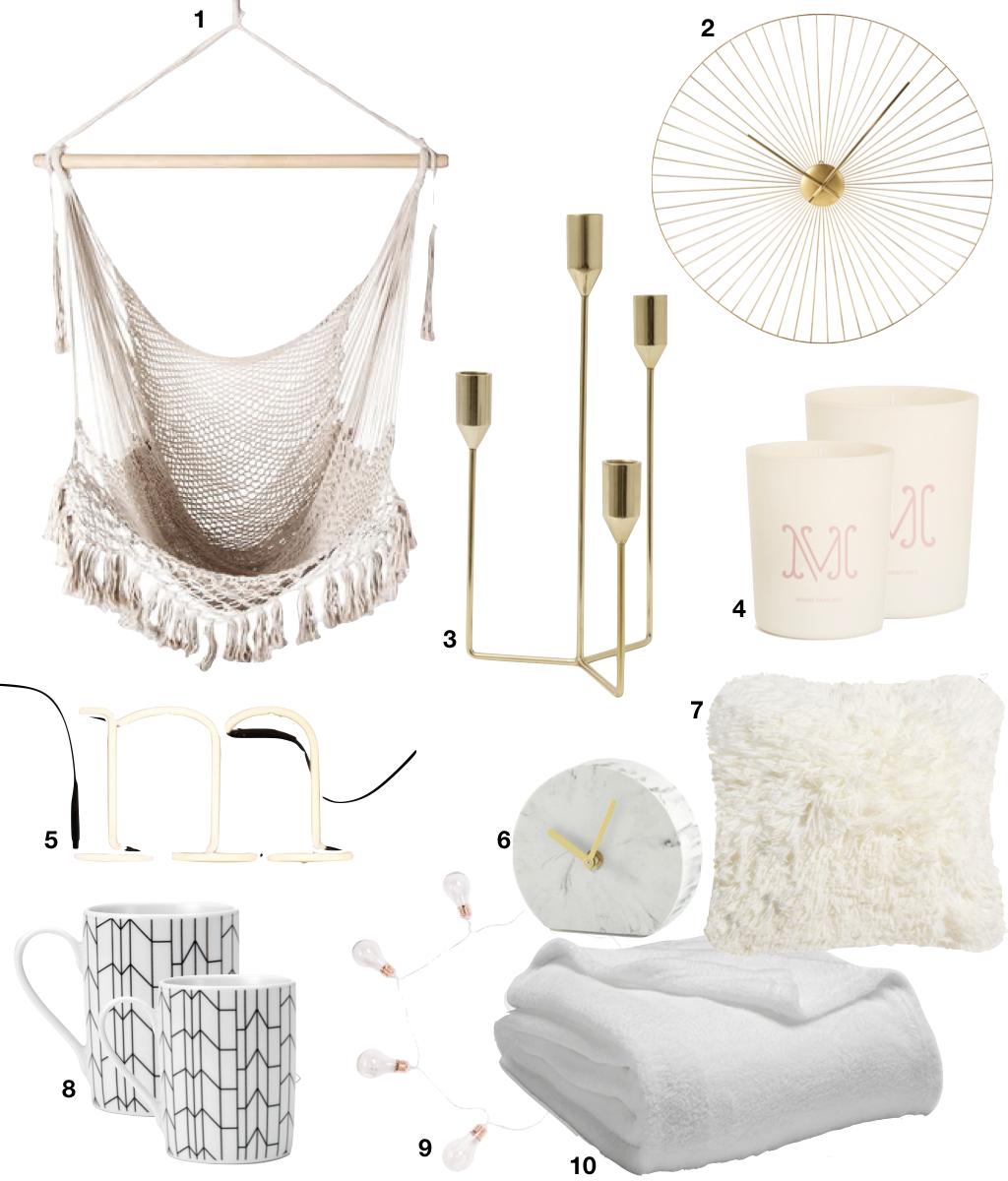 idées cadeaux fille ado chambre cosy plaid coussin blanc mug horloge laiton