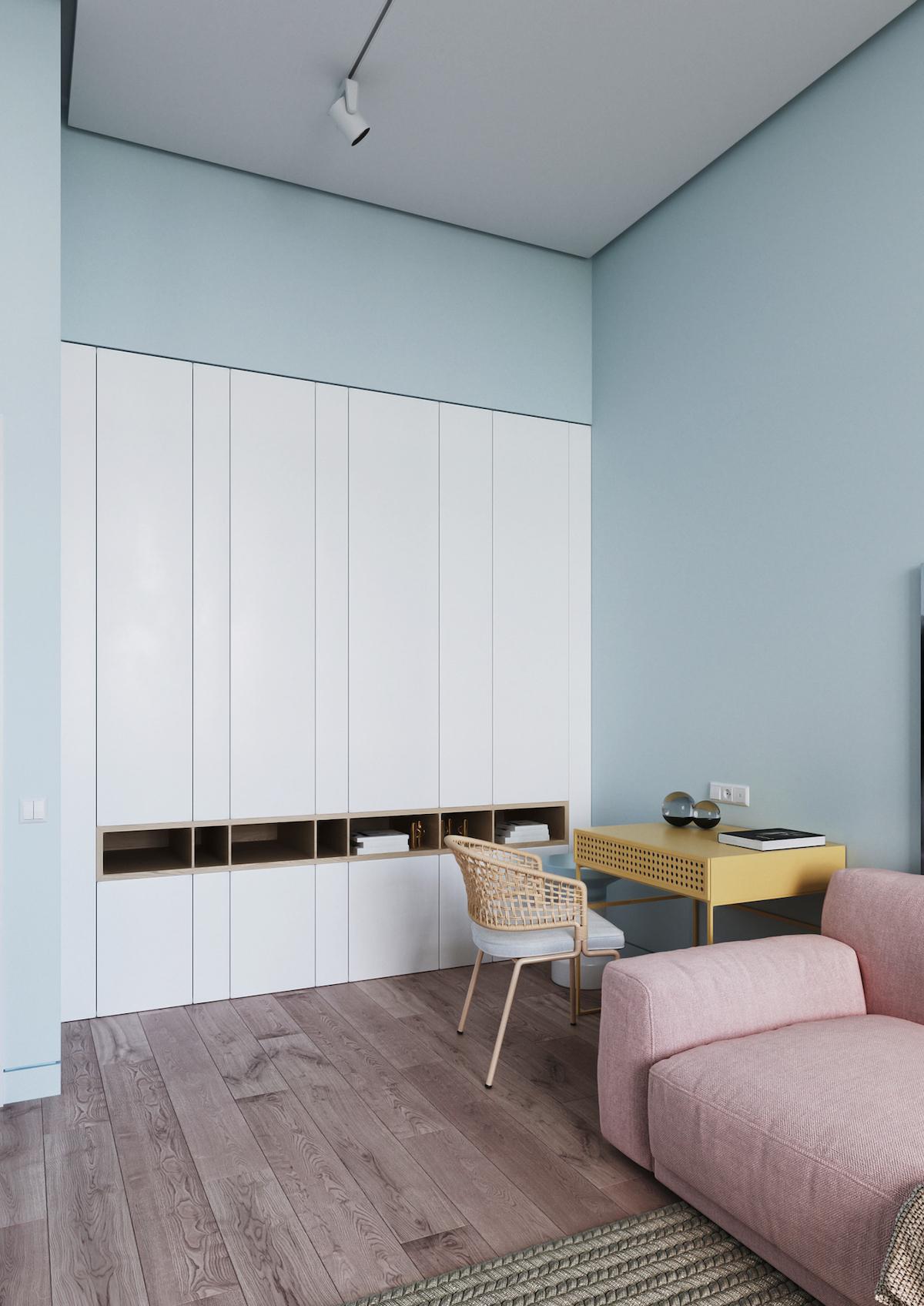 intérieur couleurs pastel installer coin bureau salon télétravail - blog déco - clem around the corner