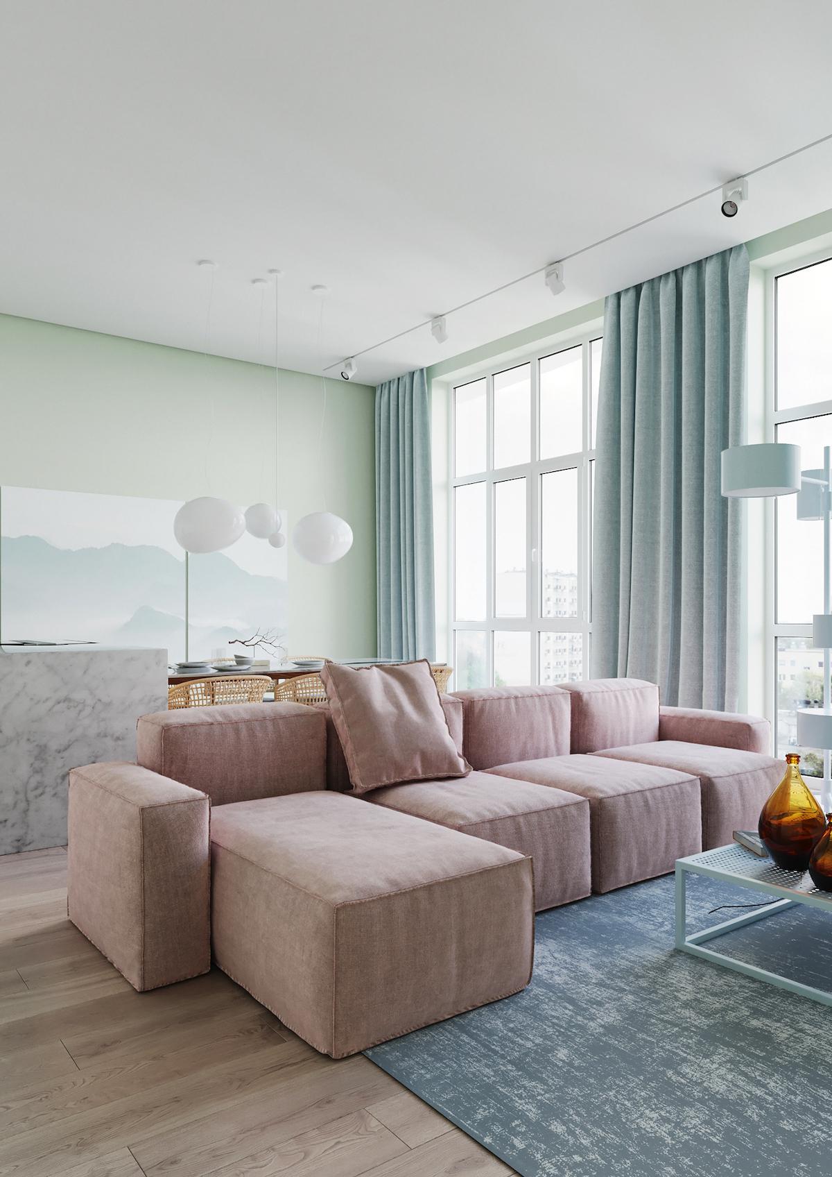 intérieur couleurs pastel salon rose bleu vert canapé modulable - blog déco - clemaroundthecorner