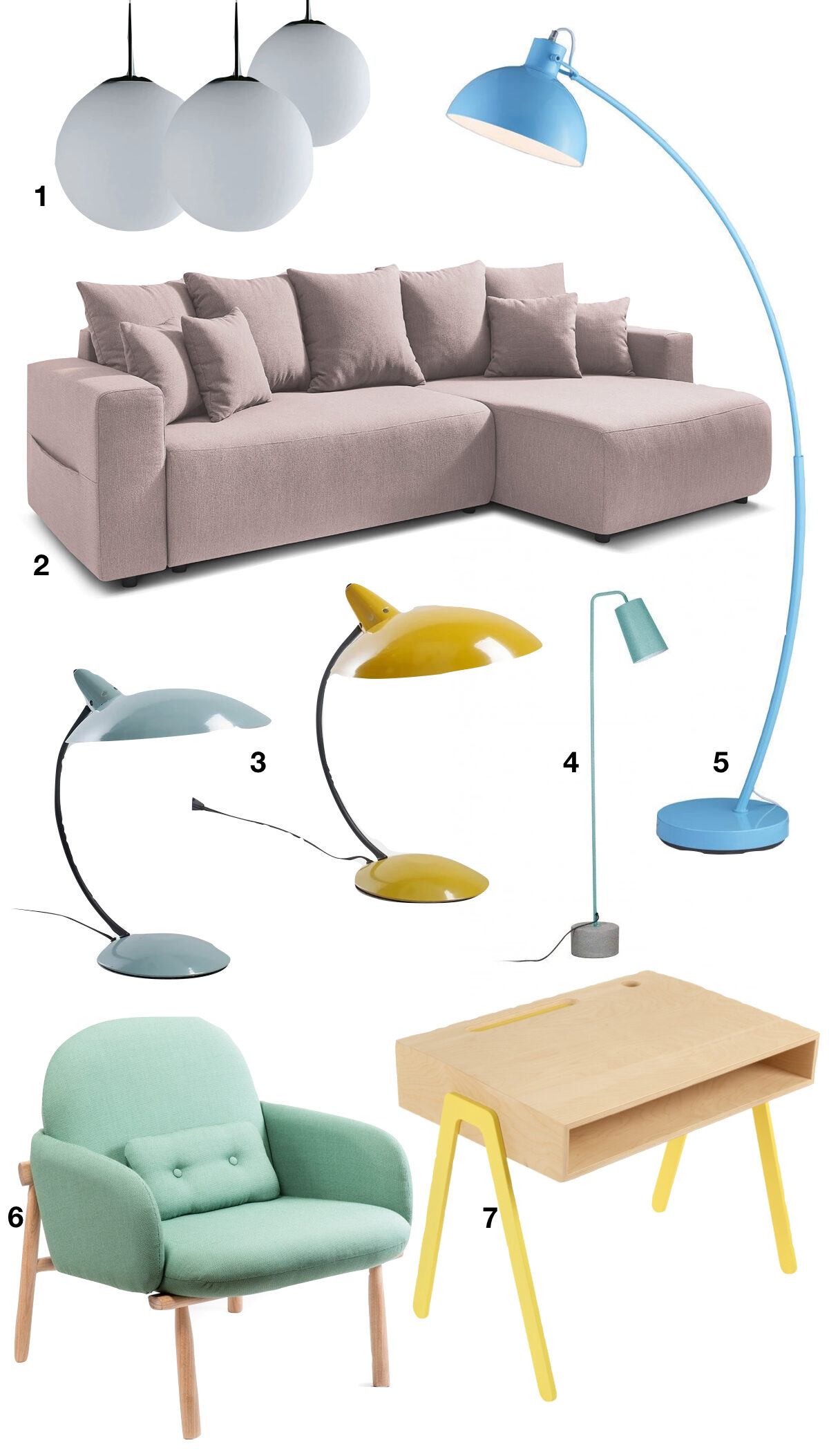 intérieur couleurs pastel salon rose poudré canapé lin bureau jaune fauteuil vert pâle