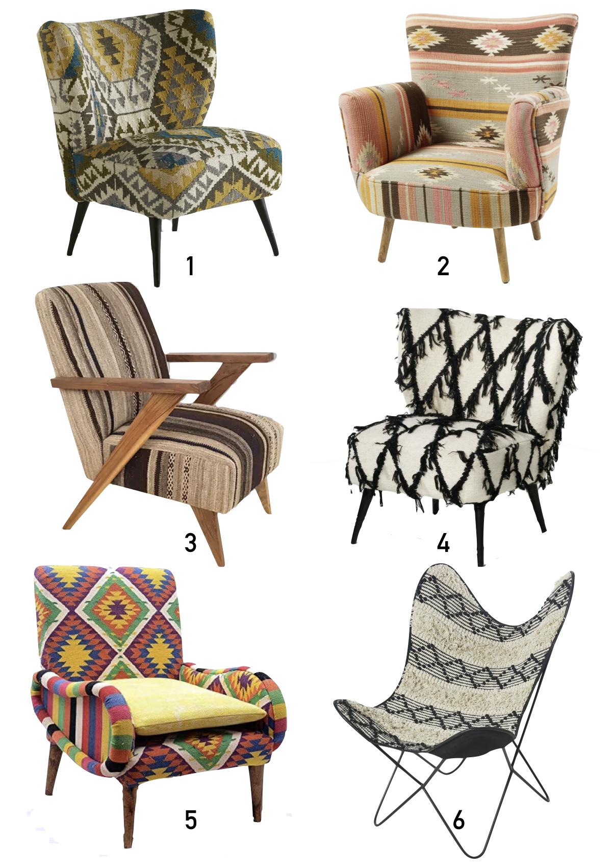 où trouver un fauteuil kilim shopping liste - blog déco - clematc