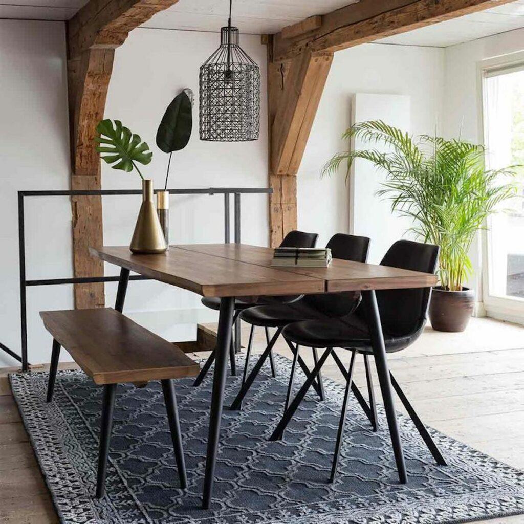 salle à manger bois en placage noyer pieds métal alagon dutchbone banc - blog déco - clematc