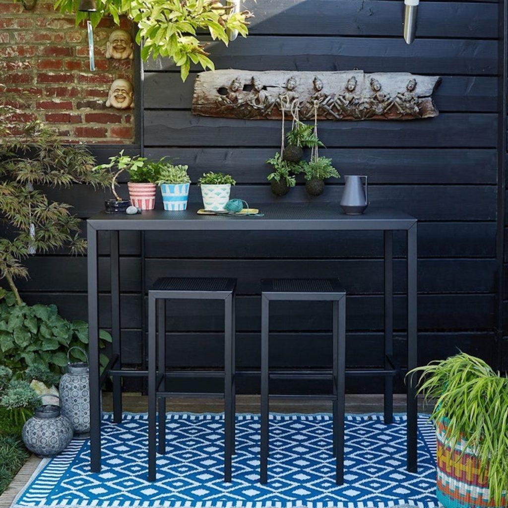 table haute extérieur chaise haute aménagement balcon longueur - blog déco - clematc