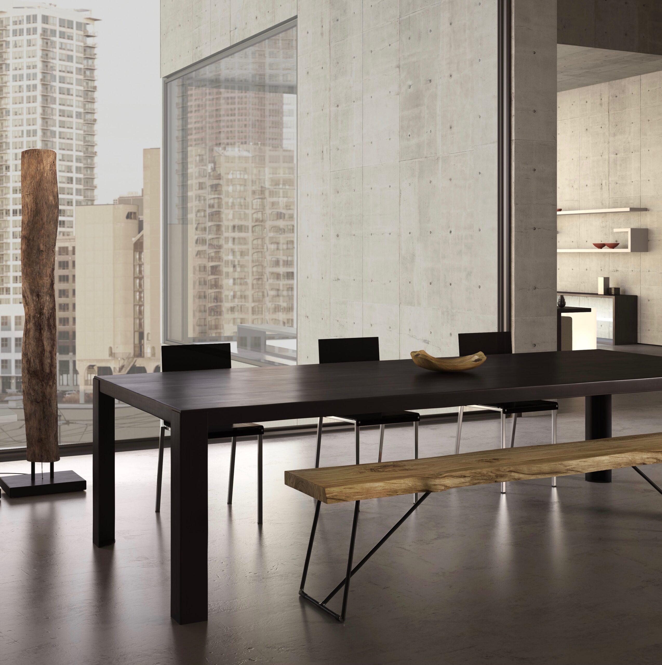 table rectangulaire big irony acier phosphate noir madeindesign - blog déco - clemaroundthecorner