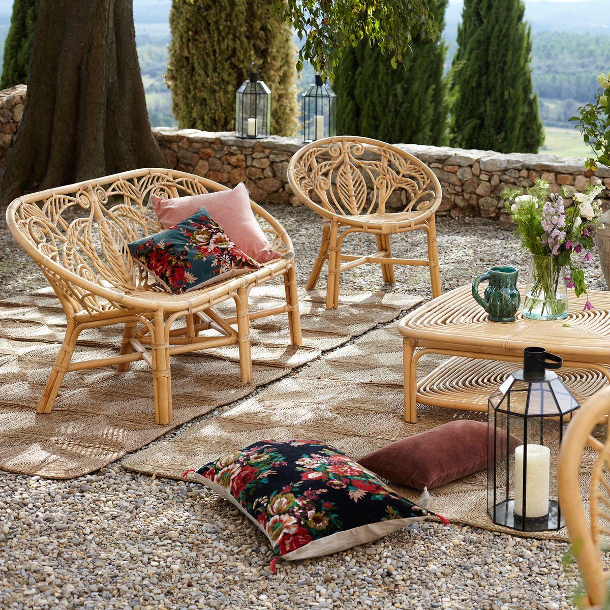 terrasse bohème chaise fauteuil table basse rotin tresse déco outdoor accessoires extérieurs blog clematc