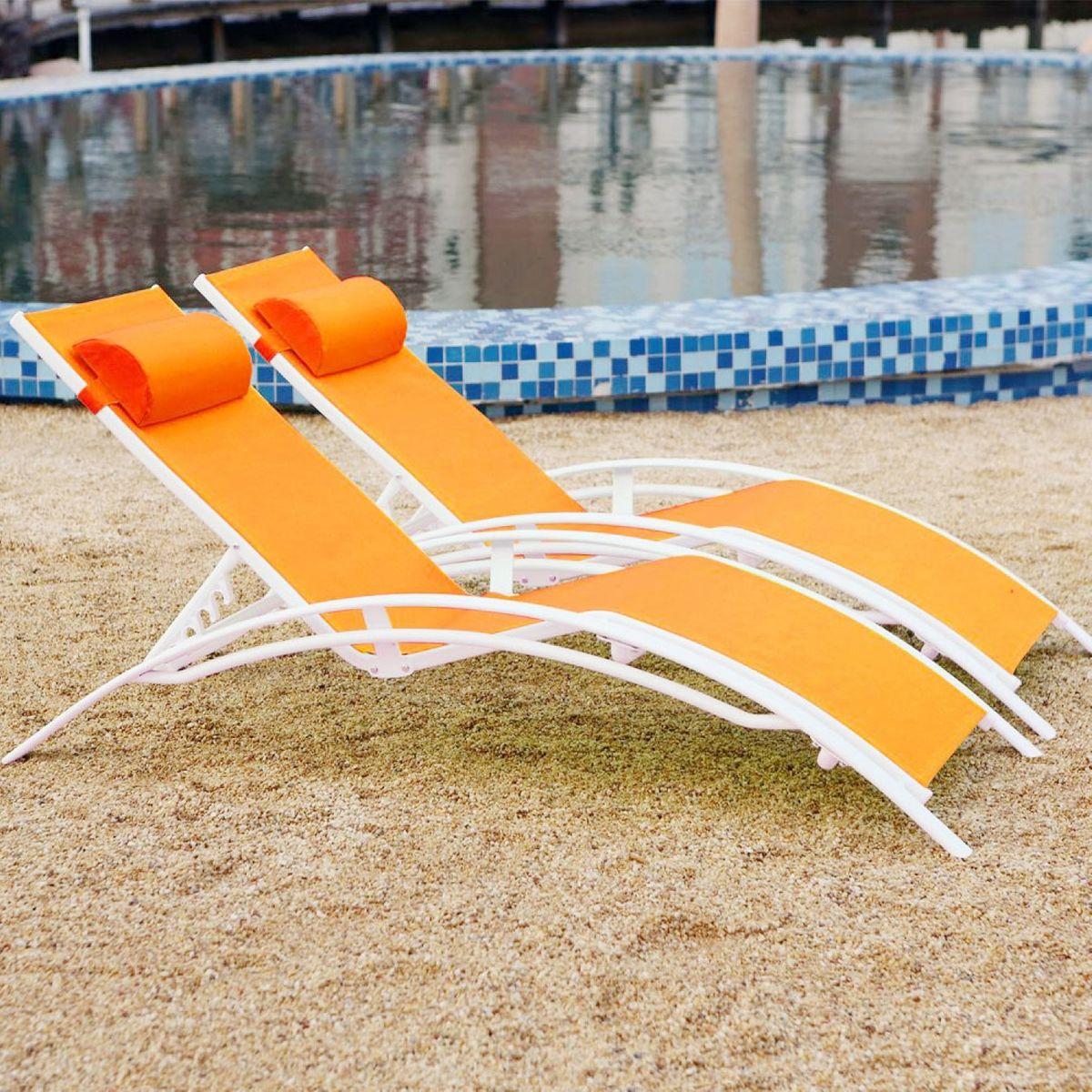 transat blanc déco orange jardin piscine pas cher
