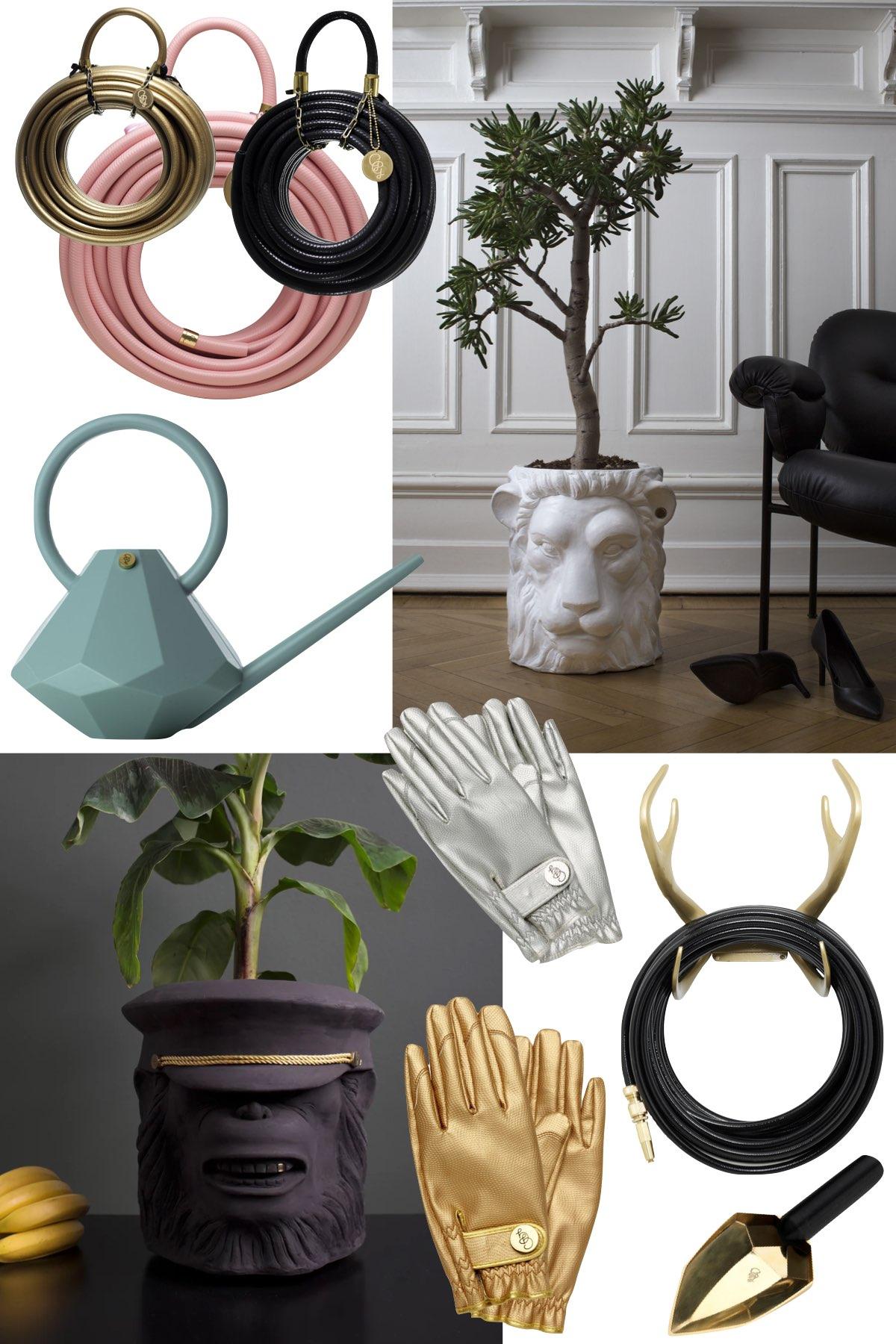 tuyau arrosage original sac bois cerf pot fleur lion singe - blog design - clemaroundthecorner