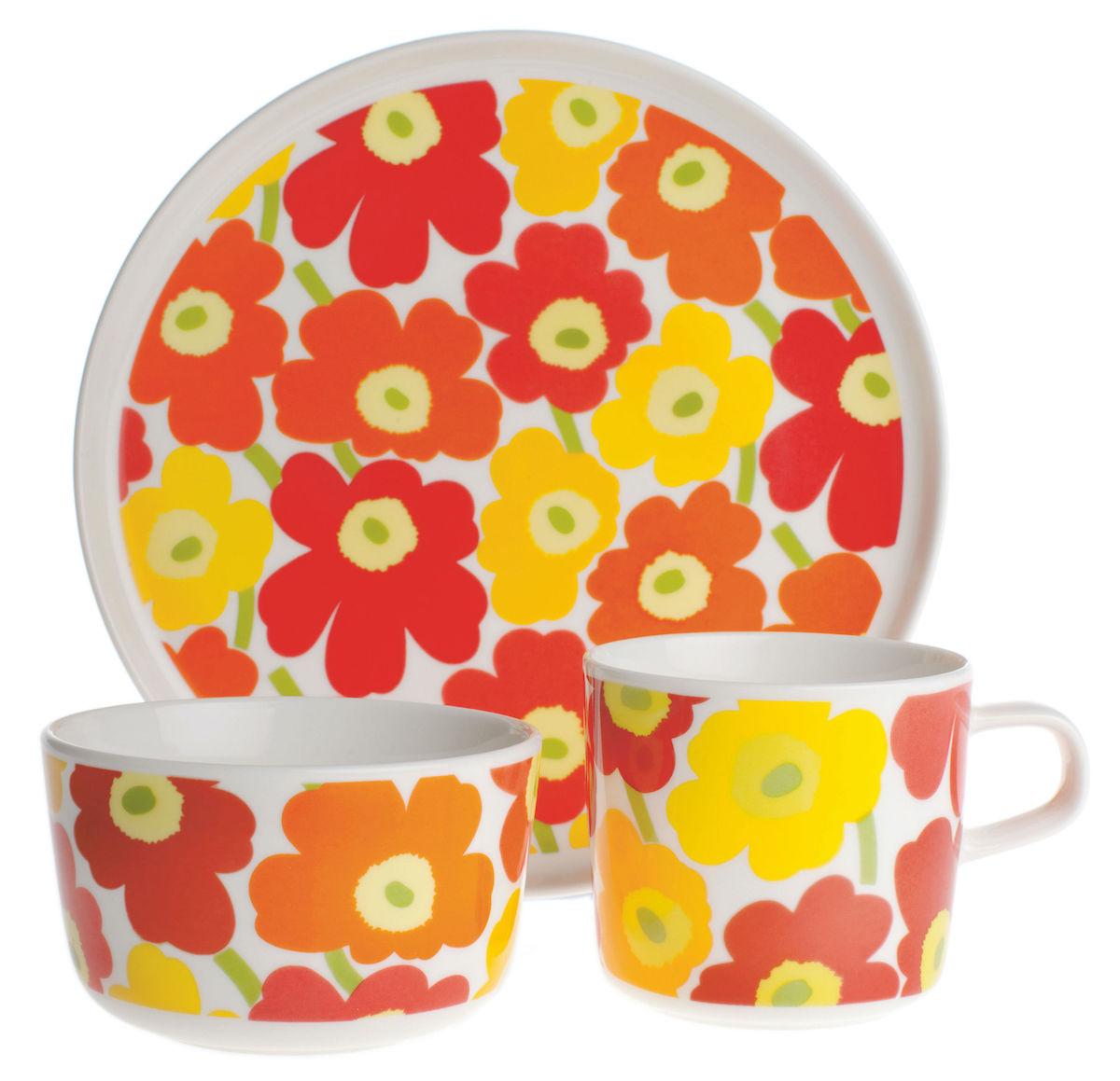 vaisselle Mini Unikko Marimekko motif fleur assiette jaune orange rouge
