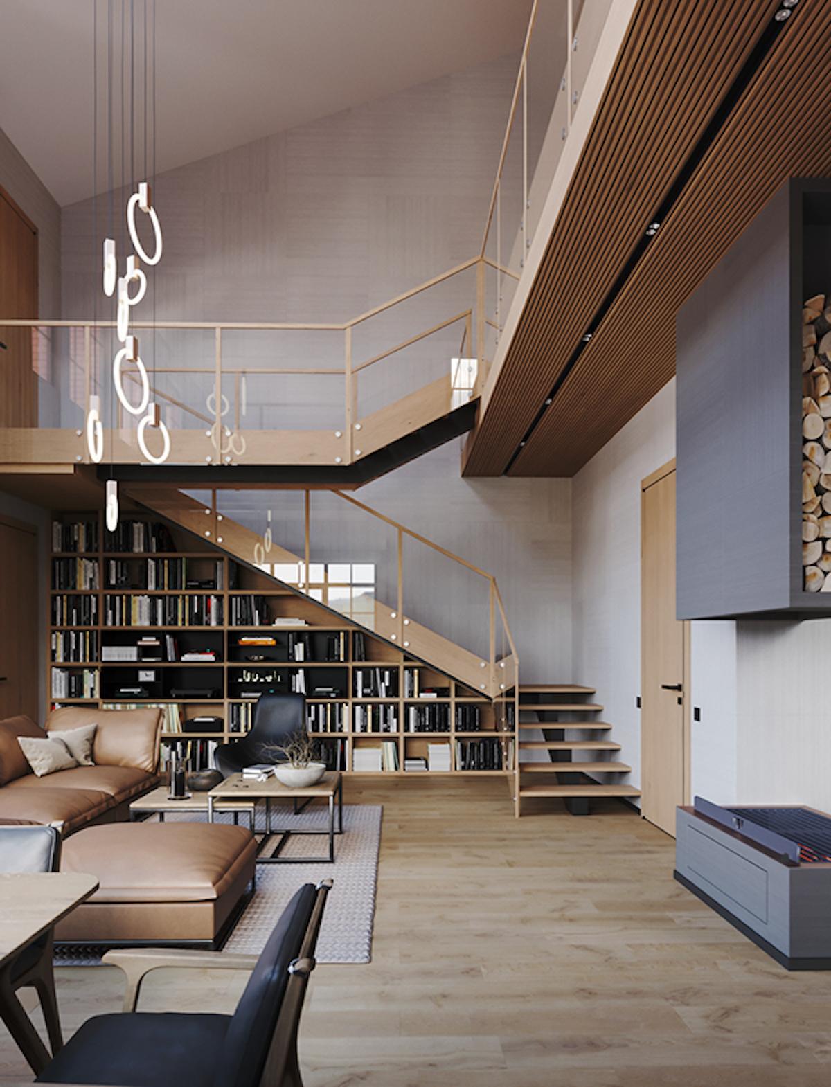 bibliothèque intégrée sous escalier bois et verre architecture intérieur