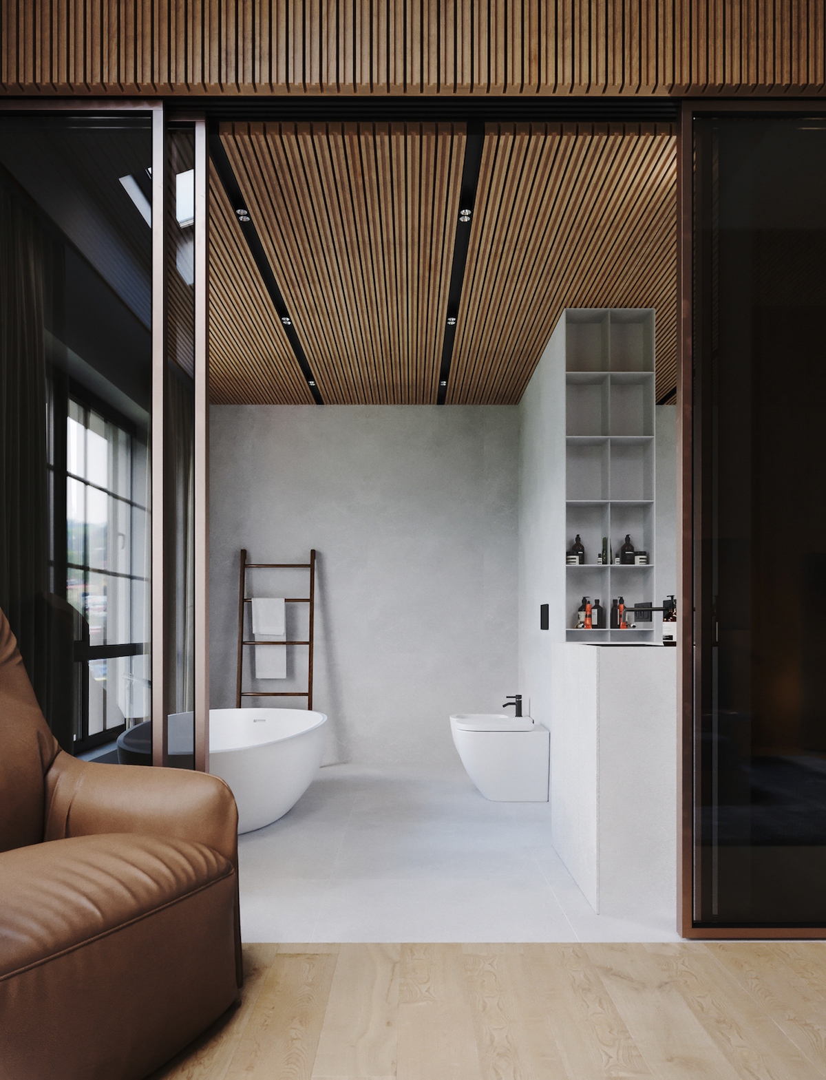 chalet moderne salle de bain gris mur lambris bois suite parentale