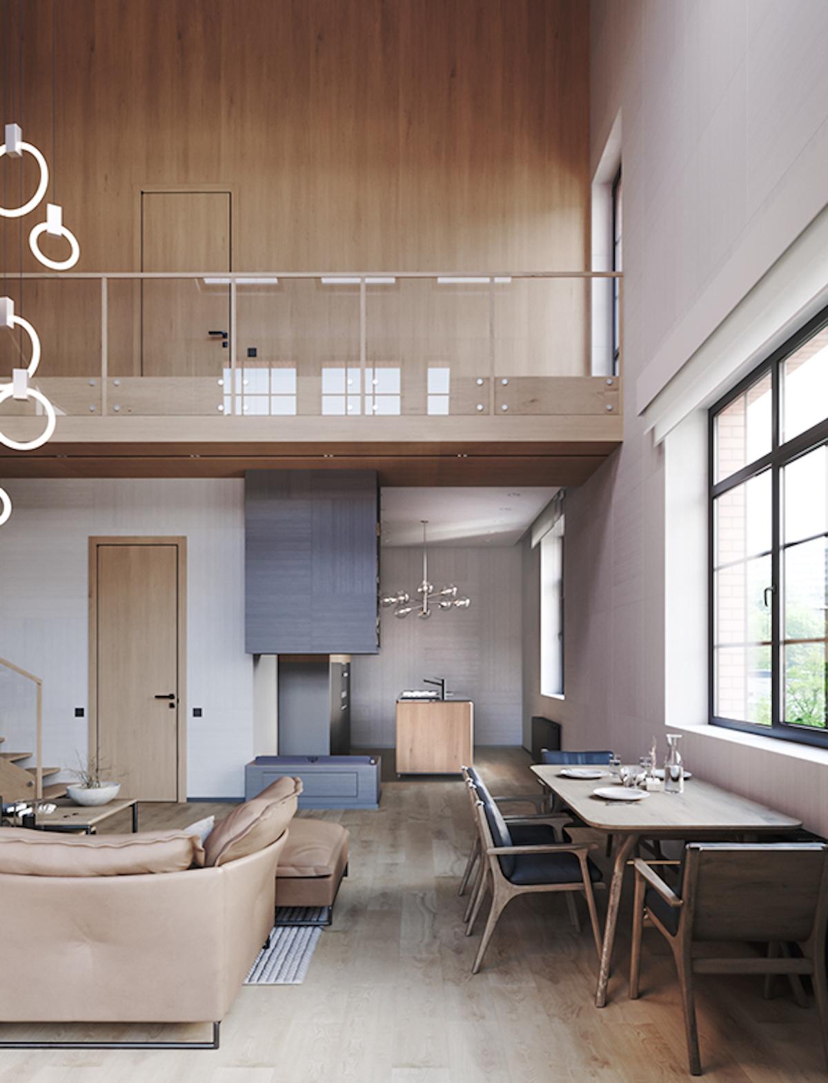 chalet moderne salon séjour cuisine ouverte décoration ton nature
