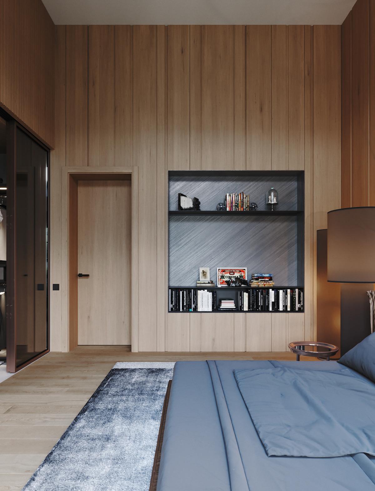 chambre bois revêtement mur bibliothèque encastrée décoration grise