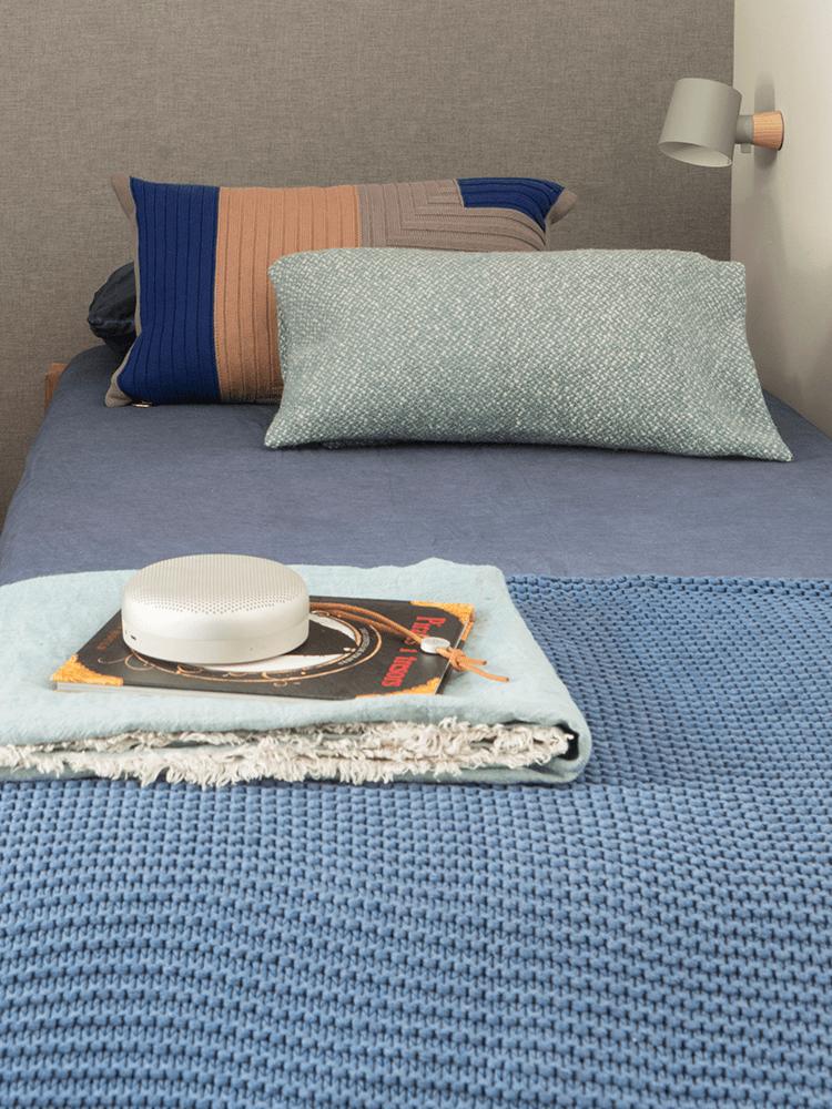 chambre enfant garçon style campagne coloré bleu slow life