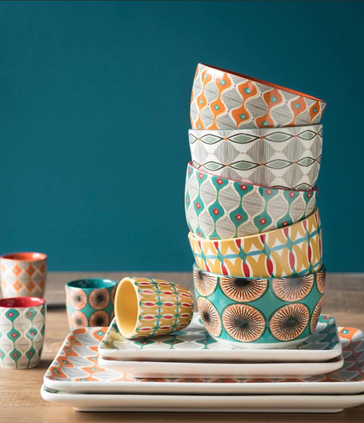 coffret tasses bols en faience multicolore - clematc