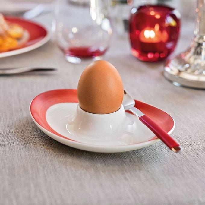 coquetier soucoupe à pied oval rouge blanc ensemble assiette bol déco intérieure