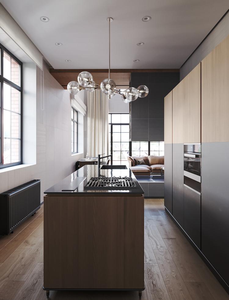cuisine en longueur ilot marbre chalet moderne radiateur noir mat