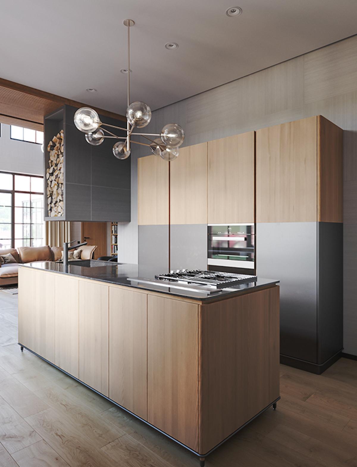 cuisine moderne chalet épuré grise mat bois chêne naturel massif