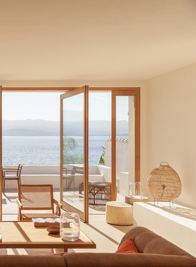 décoration salon bord de mer méditerranée nature bois blanc cannage