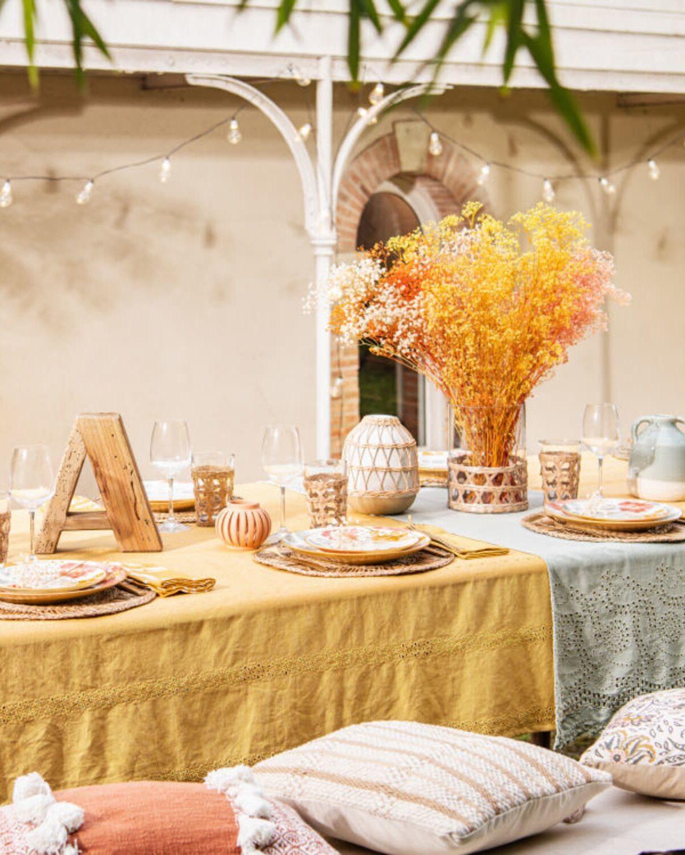 gypsophiles séchés nouvelle collection maisons du monde table jaune moutarde lin décoration printemps mariage