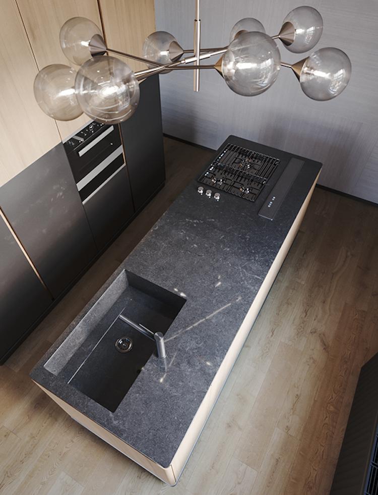 ilot centrale cuisine ouverte bois marbre suspension bulle verre laiton